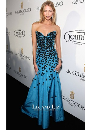 Karlie Kloss Blue Strapless Prom Gown Red Carpet Dress Cannes 2015