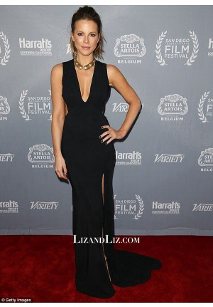 Kate Beckinsale Black V-neck Celebrity Prom Dress San Diego Film Festival