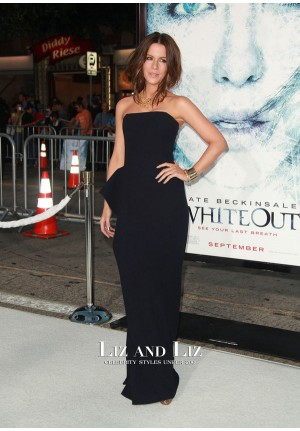 Kate Beckinsale Black Strapless Evening Prom Celebrity Dress Whiteout Premiere