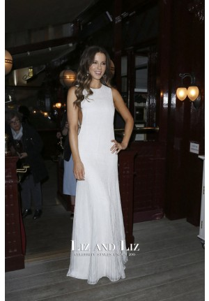 Kate Beckinsale Inspired White A-line Cut-out Evening Prom Celebrity Dress