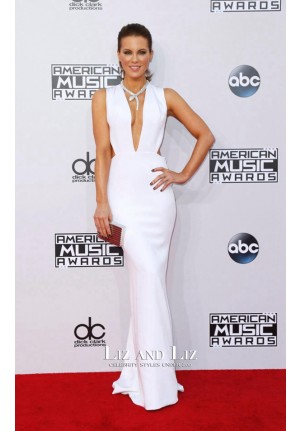 Kate Beckingsale White Plunging V-neck Dress American Music Awards