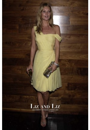 Kate Moss Short Yellow Chiffon Cocktail Party Celebrity Vintage Dress