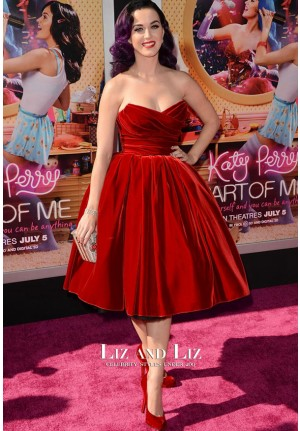 Katy Perry Red Strapless Velvet Prom Celebrity Dresses Part of Me 3D Premiere