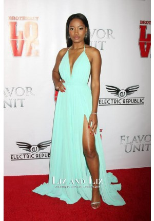 Keke Palmer Blue Chiffon Celebrity Prom Dress Brotherly Love LA Premiere