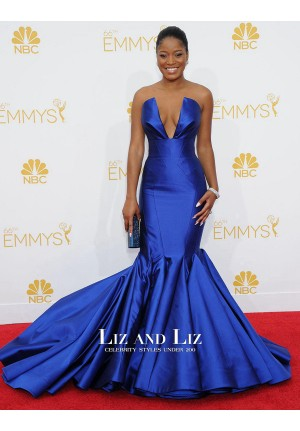 Keke Palmer Royal Blue Strapless Mermaid Red Carpet Dress Emmys 2014