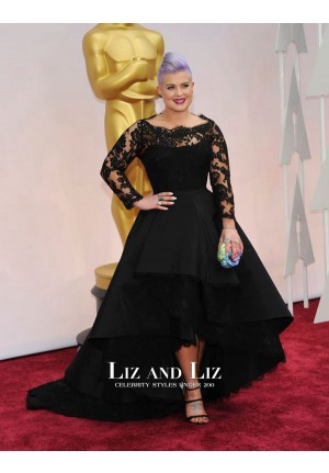 Kelly Osbourne Black Lace Long-sleeve High Low Dress Oscars 2015