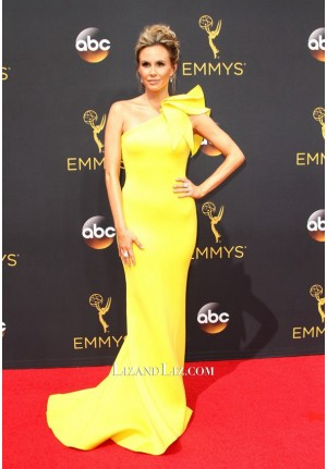 Keltie Knight Yellow One-shoulder Mermaid Celebrity Dress Emmy Awards 2016
