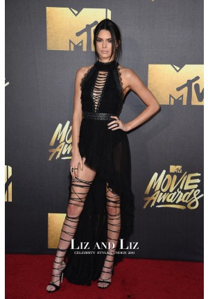 Kendall Jenner Black High-low Dress MTV Movie Awards 2016 Red Carpet