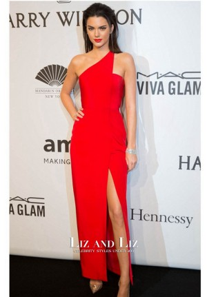 Kendall Jenner Red One-shoulder Celebrity Dress amfAR New York Gala 2015