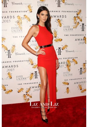 Kendall Jenner Red One-sleeve Prom Dress Fragrance Foundation Awards 2015