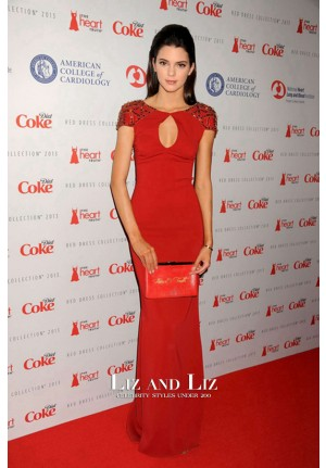 Kendall Jenner Red Celebrity Prom Dress Heart Truth Fashion Show 2013