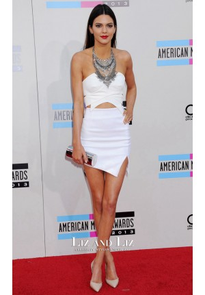 Kendall Jenner Short White Cocktail Celebrity Dress American Music Awards 2013