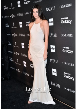 Kendall Jenner White Evening Prom Celebrity Dress Harper's Bazaar Party