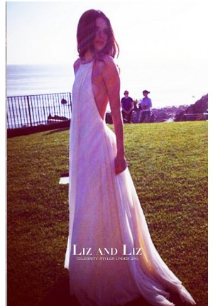 Kendall Jenner White Halter Backless Chiffon Dress Family Shoot Malibu