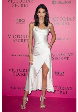 Kendall Jenner White Satin Celebrity Dress Victoria Secret After Party 2016