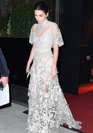 Kendall Jenner White Lace Formal Prom Celebrity Dress Film Ocean's Eight