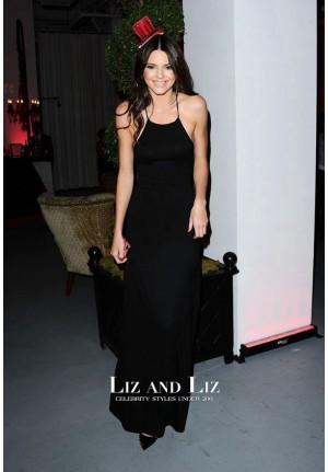 Kendall Jenner Black Halter Open Back Celebrity Dress Kylie's Sweet 16