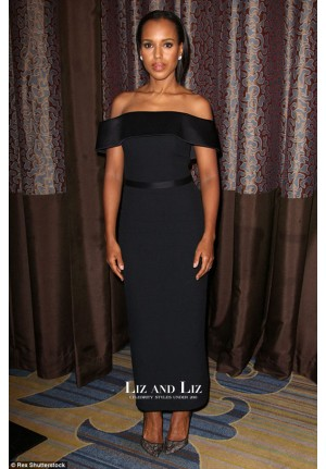 Kerry Washington Black Off-the-shoulder Dress Bill Of Rights Dinner 2015