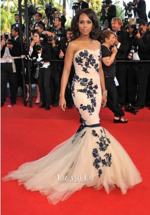 Kerry Washington Strapless Mermaid Celebrity Prom Dress Cannes 2009