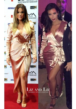Khloe Kim Kardashian Rose Gold Satin Long-sleeve V-neck Dress