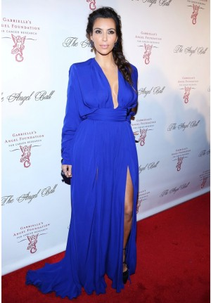 Kim Kardashian Royal Blue Long-sleeve V-neck Prom Dress Angel Ball 2012