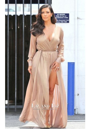 Kim Kardashian Nude Long-sleeve V-neck Evening Prom Gown Celebrity Dresses