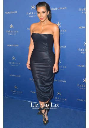 Kim Kardashian Inspired Black Strapless Satin Cocktail Party Celebrity Dresses