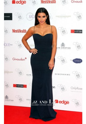 Kim Kardashian Navy Blue Red Carpet Dress FiFi UK Fragrance Awards