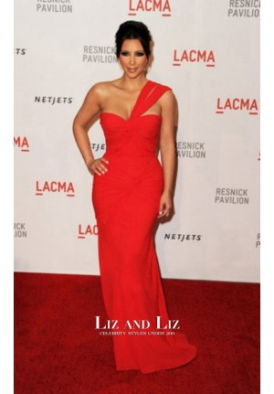 Kim Kardashian Red One-shoulder Celebrity Dress LACMA 2010 Red Carpet