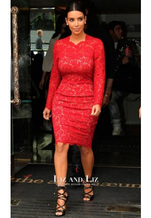 Kim Kardashian Inspired Red Lace Cocktail Party Celebrity Dress London