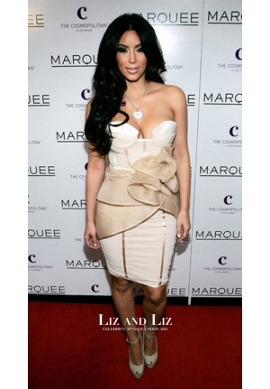 Kim Kardashian Short Strapless Cocktail Party Celebrity Dress Valentine's Day