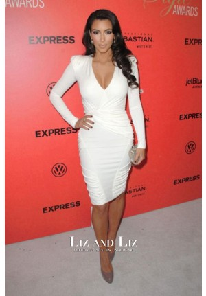 Kim Kardashian White Cocktail Party Celebrity Dress Hollywood Style Awards 2009