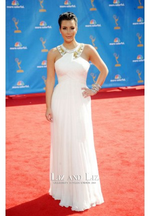 Kim Kardashian White Chiffon Evening Prom Red Carpet Dress Emmys 2010
