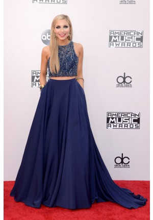 Kira Kazantsev Navy Blue Two-piece Prom Dress American Music Awards 2014