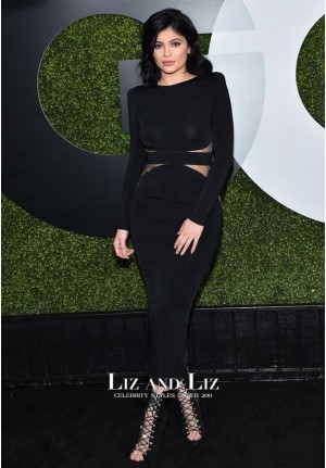 Kylie Jenner Black Cocktail Party Celebrity Dress GQ Men of The Year 2015