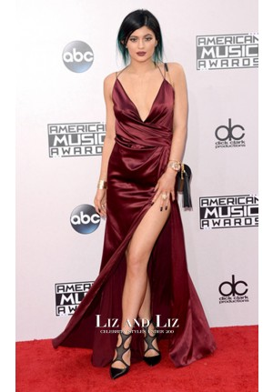 Kylie Jenner Burgundy Satin Celebrity Dresses 2014 American Music Awards