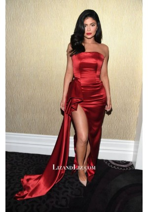 Kylie Jenner Red Satin Celebrity Prom Dress With Slit Pre-Grammy Gala 2019