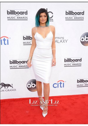 Kylie Jenner Short White Cocktail Party Dress Billboard Music Awards