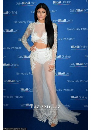 Kylie Jenner White Two-piece Prom Dress MailOnline Cannes Lions party