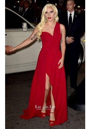 Lady Gaga Red One-shoulder Dress American Horror Story Premiere