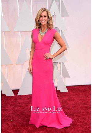 Lara Spencer Pink Sleeveless V-neck Oscars 2015 Red Carpet Dress