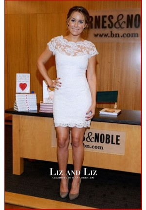 Lauren Conrad Short White Lace Cocktail Celebrity Dresses Book Promoter