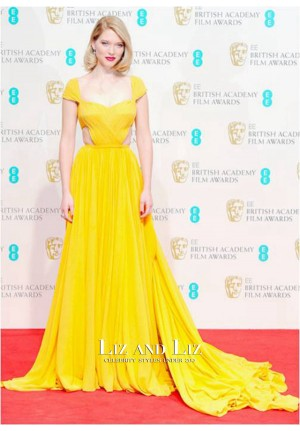 Léa Seydoux Yellow Cap-sleeve Chiffon Red Carpet Dress BAFTA 2015