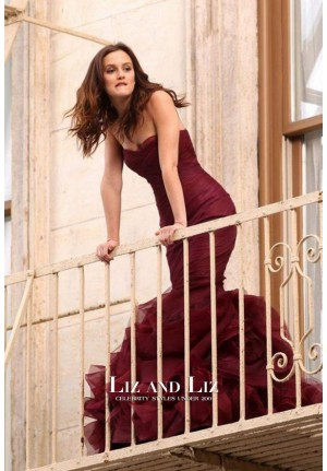 Leighton Meester Burgundy Strapless Mermaid Celebrity Prom Dress Gossip Girl