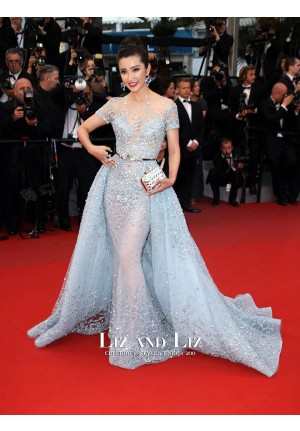 Li Bingbing Blue Embellished Celebrity Dresses Cannes 2015 Red Carpet