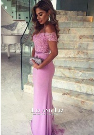 Floor Length Lilac Off-the-Shoulder Celebrity Dress Formal Evening Prom Gown