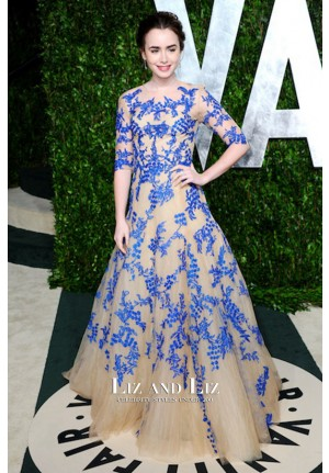 Lily Collins Nude and Blue Ball Gown Dress Vanity Fair Oscar Party 2012