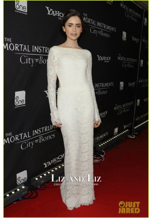 Lily Collins White Lace Dress The Mortal Instruments Toronto Premiere