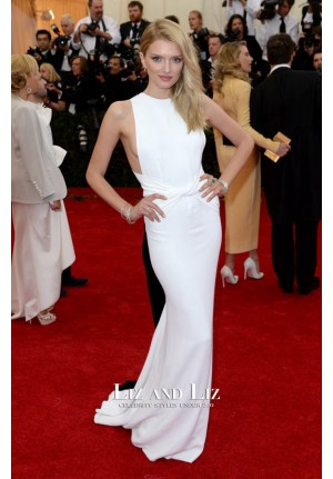 Lily Donaldson White Evening Prom Red Carpet Dress Met Gala 2014