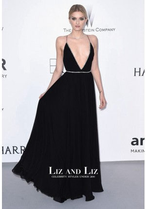 Lily Donaldson Black V-neck Celebrity Prom Dress amfAR Cannes 2015